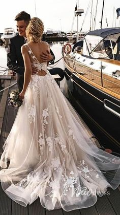 Applique Beach Wedding Dresses Backless Boho Wedding Gown Floral rustic wedding dress with train. Floral rustic wedding dress with train. Wedding Dress Black, Black Tie Wedding Guests, Boho Wedding Gown, Rustic Wedding Dresses, Dream Wedding Dresses, Wedding Ideas, Wedding Decorations, Backless Wedding Dresses, Wedding Beach