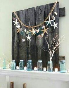 Shells, mason jars & repurposed wood..awesome!