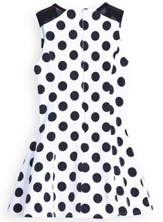White Contrast Shoulder Sleeveless Polka Dot Dress - Sheinside.com Mobile Site