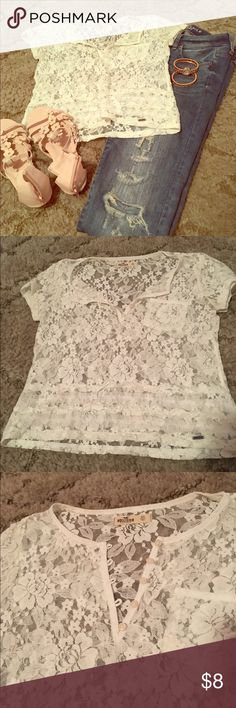 Hollister XS lace blouse Beautiful lace with button details and trim shown in pictures. Barely noticeable deodorant marks under arms, great condition! Hollister Tops