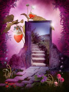 fantasy door open fairy garden dreamstime illustration purple flowers hidden through