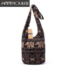 501664fef97a Винтаж Для женщин Mochila хлопок сумка чешского Стиль сумка с принтом слона  Кроссбоди мешок Bolsas мягкая женская сумка купить на AliExpress