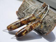 Modern Simple Marbled Brown Hoop Earrings by SydneyAustinDesigns, $21.00