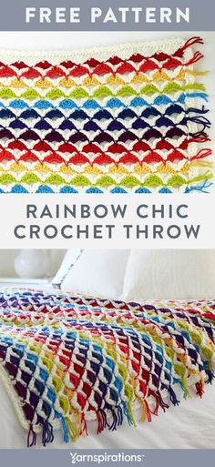 Free crochet pattern using Red Heart Chic Sheep yarn. Free Rainbow Chic Throw crochet pattern. A stunning design that's easily customizable to any room, since you can use bright shades or more muted tones to complement your space #yarnspirations #freecrochetpattern #crochetblanket #crochetthrow #geometricblanket #geometricthrow #rainbowthrow #rainbowblanket #chicsheepyarn #merinoyarn #merinoblanket #marlybirdyarn #redheartyarns #redheartyarn Afghan Patterns, Crochet Blanket Patterns, Baby Patterns, Knit Or Crochet, Free Crochet, Easy Crochet, Geometric Throws, Red Heart Yarn, Crotchet Blanket