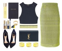 """""""Jaune."""" by wafa-lachaal ❤ liked on Polyvore featuring Yves Saint Laurent, rag & bone, MARCOBOLOGNA, Christian Dior, Chloé, Smythson, Pier 1 Imports, UKA and outfit"""