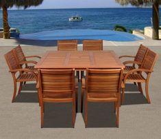amazonia milano square eucalyptus dining set | outdoor living, Gartenmöbel