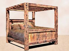 tree canopy bed | ... Beds | Carved Beds | Western Beds | Log Home Beds | Castle King Beds