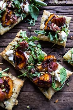 Balsamic Roasted Peach, Basil Chicken and Prosciutto Tarts - so quick, easy and delicious, yet still a meal that will impress all.