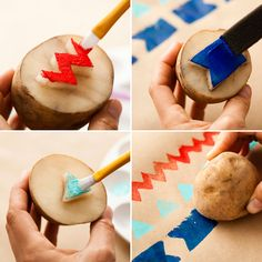 Make potato-stamped wrapping paper—so easy!