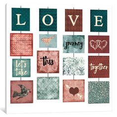 """East Urban Home 'Love' Graphic Art Print on Wrapped Canvas Size: 12"""" H x 12"""" W x 0.75"""" D"""