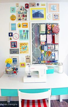 In love with this colorful craft room! She has some great ideas for storage and organization. A must see! #craftroom