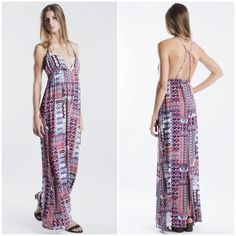 """Set on Fire"" Tribal Printed Backless Maxi Dress Red, blue and white printed maxi dress. Brand new with tags. True to size. Brand new with tags. Bare Anthology Dresses Maxi"