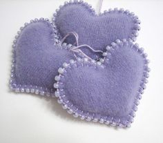 Three Light Purple - Lavender Heart Ornaments Handmade from Felted Cashmere Sweaters