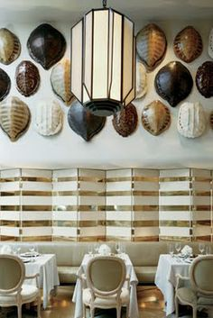 Kelly Wearstler uses antique tortoise shells at the La Marea restaurant at Miami's Tides South Beach Hotel.
