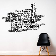 Wall Decal Vinyl Sticker Decals Art Decor Design New York NY City Map Name of City Town One Love Dream Bedroom Modern Fashion (r213) CreativeWallDecals http://www.amazon.com/dp/B00MB1L884/ref=cm_sw_r_pi_dp_Bep2ub1Y3PTPX