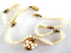 vintage cultured Pearl Necklace Pendant with by JewlsinBloom