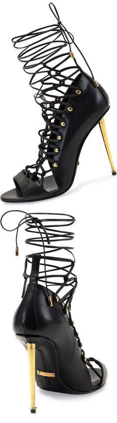 Tom Ford Calfskin Lace-Up Sandal (with signature yellow golden hardware with metal heel and rivet detail)