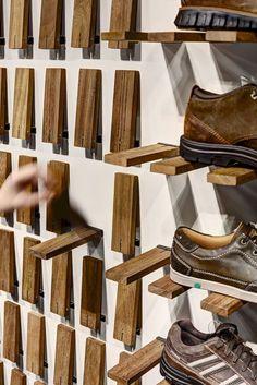 Gallery of Skechers TR Casual Showroom / Zemberek Design - 5 (Diy Storage Shelves) Diy Furniture, Furniture Design, System Furniture, Mirrored Furniture, Furniture Shopping, Furniture Storage, Furniture Plans, Diy Shoe Rack, Wall Shoe Rack