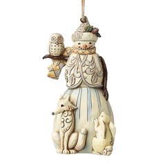 4051541 White Woodland Snowman (Hanging ornament)- This elegant wintry snowman with his woodland friends evokes the wonder of nature in a subtle palette of muted tones and icy blues #Jimshore #Festive #Christmas