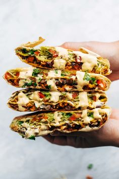 This vegan crunchwrap is INSANE! Stuff this bad boy with whatever you like - I made it with sofritas tofu and cashew queso - and wrap it up, fry, and devour! Favorite vegan recipe to date. recipes Vegan Crunchwrap Supreme - Pinch of Yum Veggie Recipes, Mexican Food Recipes, Whole Food Recipes, Cooking Recipes, Healthy Recipes, Recipes Dinner, Healthy Dinners, Cooking Ideas, Easy Vegan Meals