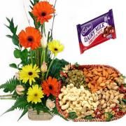Buy flowers and dryfruits combo online and send flowers and dryfruits to India from FlowersCakesOnline.com  #buycakesonlineindia  #sendflowerstoindia