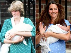 Princess Diana and Princess Kate; Duchess of Cambridge, with their firstborns