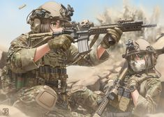 Women With Protection Anime Military, Military Art, Military Style, Comic Pictures, Manga Pictures, Otaku Anime, Anime Art, Military Archives, Warrior Girl