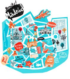 Madrid Map, Spain, illustrated map, travel guide madrid, tour guide spain…