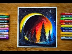 Easy Oil Pastel Drawing - Blood Moon Eclipse / Timelapse Things Used: Watercolor paper Masking tape Pentel Oil Pastel Berkely charcoal pencil Hope you enjoye. Drawing Blood, Moon Drawing, Blood Moon Eclipse, Crayon Painting, Pastel Crayons, Oil Pastel Drawings, Watercolor Paper, Make It Yourself, Easy
