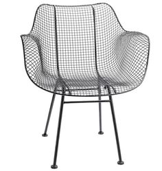 Our wire armchairs carry breezy mid-century style to the table or terrace. Powder-coated for durability, these chairs have a curvaceous silhouette that's elemental and easygoing.  With their wire openwork, these chairs work especially well in spaces where you want to keep sight lines open.  * Powder-coated metal * Suitable for protected outdoor use * Minor assembly required * Imported