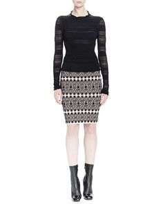 Long-Sleeve Ruched Knit Top & Lace Circle Jacquard Skirt by Alexander McQueen at Bergdorf Goodman.