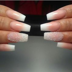 Perfect French fade minus the sugar on the ring fingers.