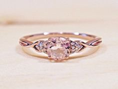 New 14k Rose Gold Round Natural Morganite & Diamond Accent .45 TCW Ring #3600