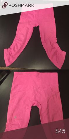 Lululemon crops Hot pink Lululemon crops. In great condition. Super flattering and comfortable. lululemon athletica Pants Leggings