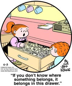 Family Circus Cartoon for Jun/03/2013 - Junk Drawers