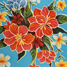 If I ever need oilcloth, this one looks fun.  :) Light Blue Hibiscus Oilcloth Fabric