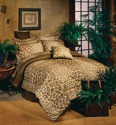 Reach for the tree tops with our Giraffe print bedding set. The Giraffe design is a whimsical complement to safari style decor or a teens bedroom. Complete Bed in a Bag Set includes comforter, sh Bed Comforter Sets, Queen Bedding Sets, Comforters, Bedspreads, Bedroom Themes, Bedroom Decor, Bedrooms, Bedroom Ideas, Bedroom Stuff