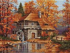 Autumn Landscape, Watermill Cross Stitch Kit B481