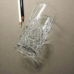 Realistic glass drawing
