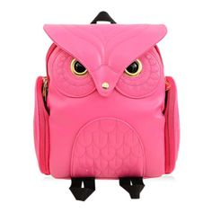 Preppy Women's Satchel With Owl Pattern and Stitching Design