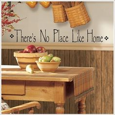No Place Like Home peel and stick decal, primitive wall decor stickers