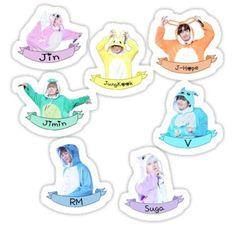 'BTS Sticker Set Kigurumi - Check Description ' Sticker by momojaya Stickers Kawaii, Pop Stickers, Tumblr Stickers, Printable Stickers, Bts Kawaii, Kawaii 365, Bts Taehyung, Bts Jimin, Theme Bts