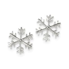 Sterling Silver & CZ Polished Snowflake Post Earrings