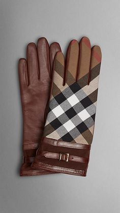 Burberry House Check and Leather Touch Screen Gloves Trench Coats, Burberry Touch, Maxi Collar, Gloves Fashion, Hold My Hand, Mitten Gloves, Women's Gloves, Lace Gloves, Waterproof Fabric