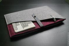 Купить Чехол для планшета - серый, однотонный, чехол, чехол для планшета, чехол для ipad, фетр, кожа