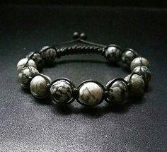 10mm Darker Shade Of Grey Gemstones Shamballa Macrame Adjustable Straps Bracelet Men Power Stone Bracelet Grey Jasper Snowflakes Obsidian by ZenYogastones on Etsy