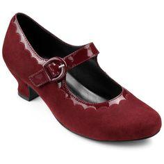 Bridgette Heels - Burgundy Standard Fit 11 $125.00 AT vintagedancer.com
