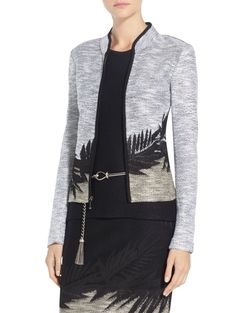 Tropical Leaf Motif Jacquard Jacket