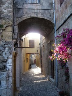 Street of the old city. Rhodes city (Rodos), Greece.