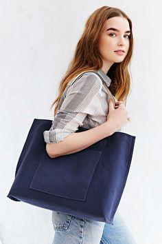 Reversible Canvas + Vegan Leather Tote Bag